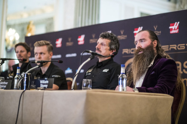 Romain Grosjean, Haas F1 Team, Kevin Magnussen, Haas F1 Team, Guenther Steiner, Team Principal, Haas F1 and William Storey, CEO Rich Energy in Press Conference
