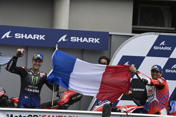 Second place Johann Zarco, Pramac Racing, third place Fabio Quartararo, Yamaha Factory Racing.