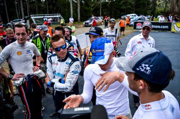 Ott Tanak (EST) / Martin Jarveoja (EST), M-Sport World Rally Team WRC and Sebastien Ogier (FRA), M-Sport World Rally Team WRC at World Rally Championship, Rd13, Rally Australia, Day Three, Coffs Harbour, New South Wales, Australia, 19 November 2017.
