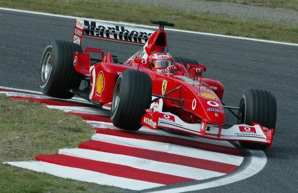 2002 Japanese Grand Prix.Suzuka, Japan.11-13 October 2002.Rubens Barrichello (Ferrari F2002).World Copyright - Steve Etherington/LAT Photographicref: Digital Image Only