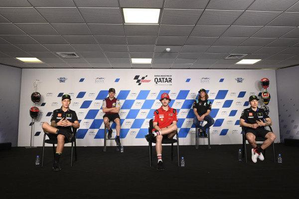 Fabio Quartararo, Yamaha Factory Racing, Sam Lowes, Marc VDS Racing, Francesco Bagnaia, Ducati Team, Darryn Binder, Petronas Sprinta Racing, Maverick Vinales, Yamaha Factory Racing.