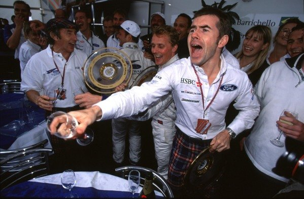 1999 European Grand Prix.Nurburgring, Germany. 24-26 September 1999.Paul Stewart celebrates the Stewart Grand Prix team's first victory in Formula 1, after Johnny Herbert's win.World Copyright - Lawrence/LAT Photographic