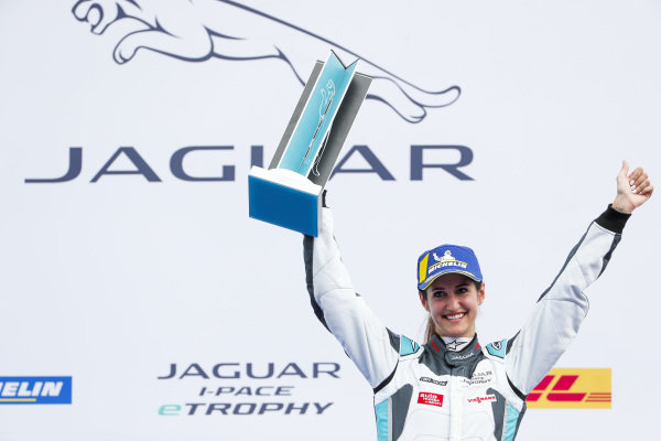 Célia Martin (FRA), Viessman Jaguar eTROPHY Team Germany, 2nd position, celebrates on the podium