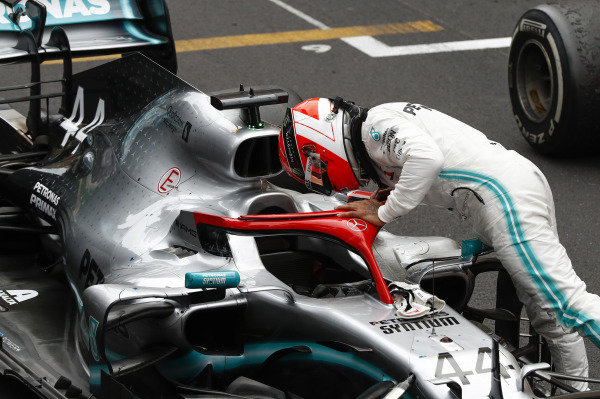 Lewis Hamilton, Mercedes AMG F1, 1st position, arrives in Parc Ferme