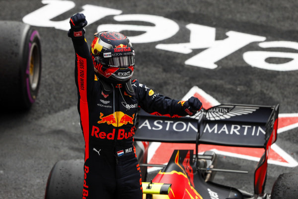 Max Verstappen, Red Bull Racing, 1st position, celebrates in Parc Ferme