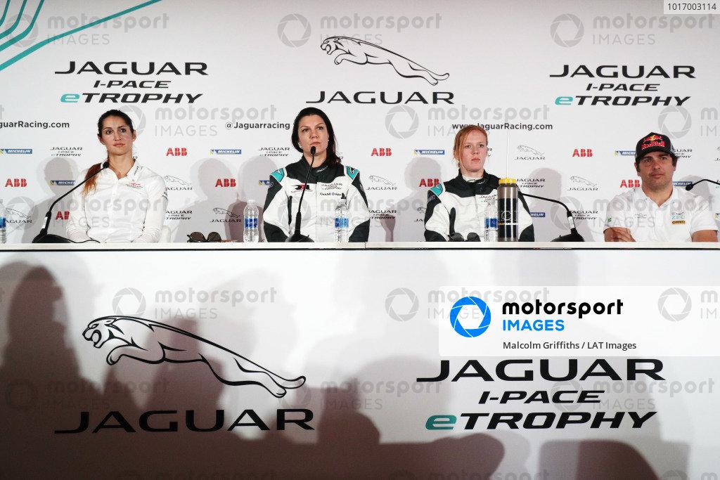 Célia Martin (FRE), Viessman Jaguar eTROPHY Team Germany, Katherine Legge (GBR), Rahal Letterman Lanigan Racing, Alice Powell (GBR), Jaguar VIP car and Cacá Bueno (BRA), Jaguar Brazil Racing in the press conference