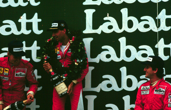 1985 Canadian Grand Prix, Montreal, Quebec, Canada.14-16 June 1985.Michele Alboreto, Stefan Johansson (both Ferrari 156/85) and Alain Prost (McLaren MP4/2B TAG Porsche) finished in 1st, 2nd and 3rd positions respectively.World Copyright - LAT Photographic