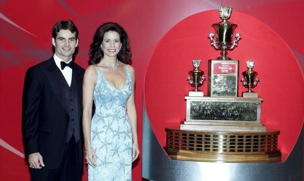 Jeff and wife Brooke Gordon with the Winston Cup Series Trophy. 