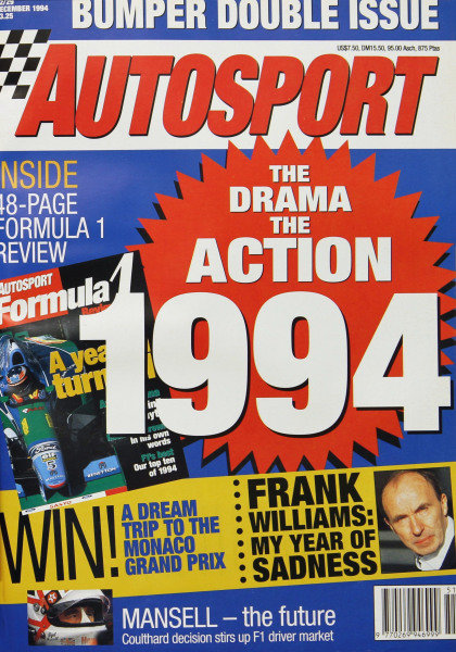 Cover of Autosport magazine, 22nd December 1994