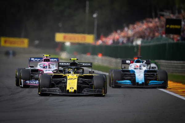 Nico Hulkenberg, Renault R.S. 19, leads George Russell, Williams Racing FW42, and Lance Stroll, Racing Point RP19