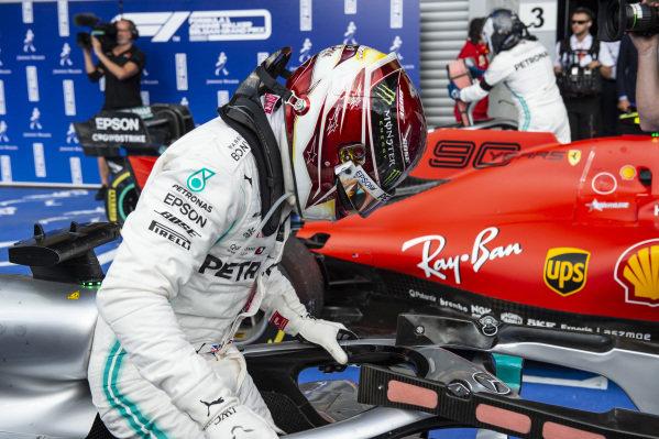 Lewis Hamilton, Mercedes AMG F1, 2nd position, arrives in Parc Ferme
