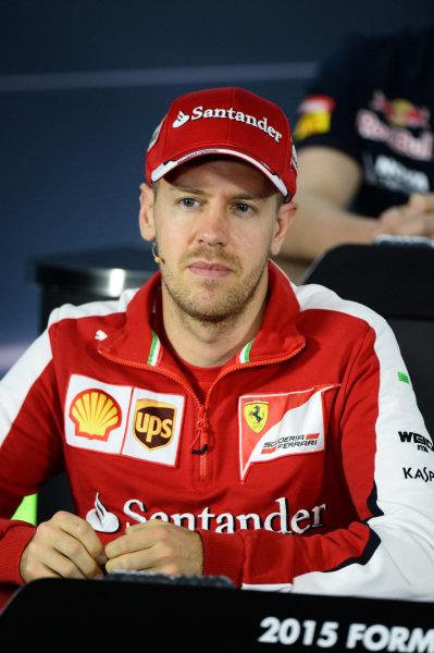 Sebastian Vettel (GER) Ferrari during the press conference at Formula One World Championship, Rd1, Australian Grand Prix, Preparations, Albert Park, Melbourne, Australia, Thursday 12 March 2015.
