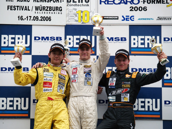 Race 1 podium and results:
