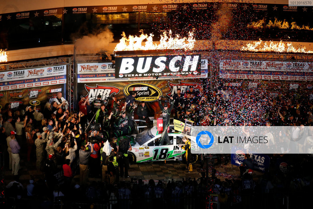 11-13 April, 2013, Fort Worth, Texas, USA Winner Kyle Busch celebrates in Victory Lane © 2013, Michael L. Levitt LAT Photo USA.
