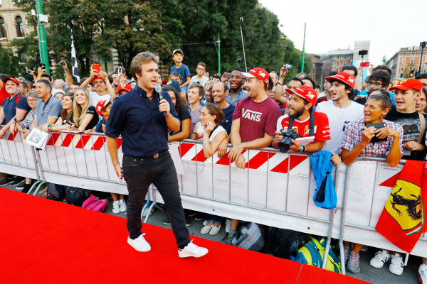Autodromo Nazionale di Monza, Italy. Thursday 31 August 2017. Davide Valsecchi at the parade in Milan. World Copyright: Steven Tee/LAT Images  ref: Digital Image _R3I2299