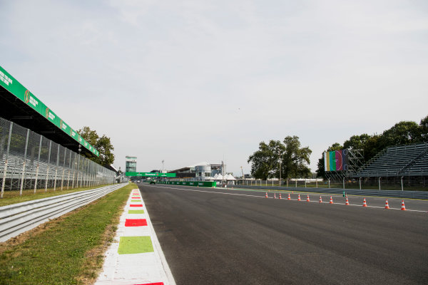 2017 GP3 Series Round 6.  Autodromo Nazionale di Monza, Monza, Italy. Thursday 31 August 2017. A view of the start finish straight. Photo: Zak Mauger/GP3 Series Media Service. ref: Digital Image _56I4867