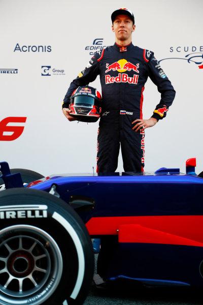 Toro Rosso STR12 Formula 1 Launch. Barcelona, Spain  Sunday 26 February 2017. Daniil Kvyat, Toro Rosso.  World Copyright: Dunbar/LAT Images Ref: _X4I9721