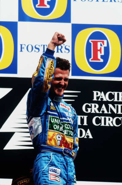 Tanaka International, Aida, Japan.15-17 April 1994.Michael Schumacher (Benetton Ford) 1st position on the podium.Ref-94 PAC 01.World Copyright - LAT Photographic