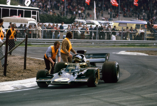 Zolder, Belgium.18-20 May 1973.  Ronnie Peterson (Lotus 72E-Ford), retired.  Ref: 73BEL49. World Copyright: LAT Photographic.