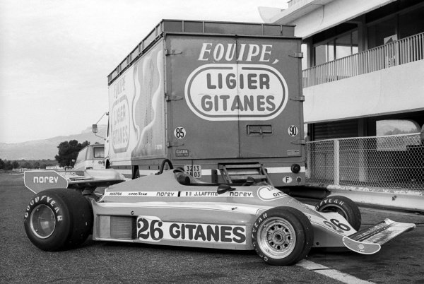 Ligier unveil their 1977 car, the Ligier JS7. Formula One Testing, Paul Ricard, France, c. November 1976.