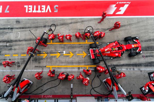 Red Bull Ring, Spielberg, Austria. Sunday 9 July 2017. Kimi Raikkonen, Ferrari SF70H, makes a pit stop during the race. World Copyright: Glenn Dunbar/LAT Images ref: Digital Image DSC03618
