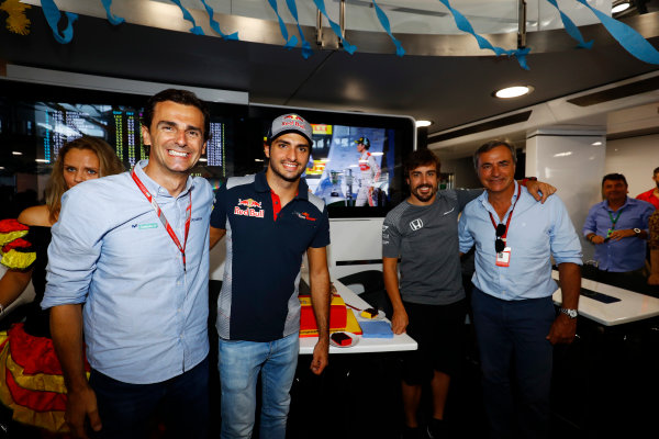 Hungaroring, Budapest, Hungary.  Saturday 29 July 2017. L-R: Pedro de la Rosa, Carlos Sainz Jr, Toro Rosso, Fernando Alonso, McLaren, who celebrates his 36th birthday, and Carlos Sainz Sr.  World Copyright: Steven Tee/LAT Images  ref: Digital Image _R3I3643