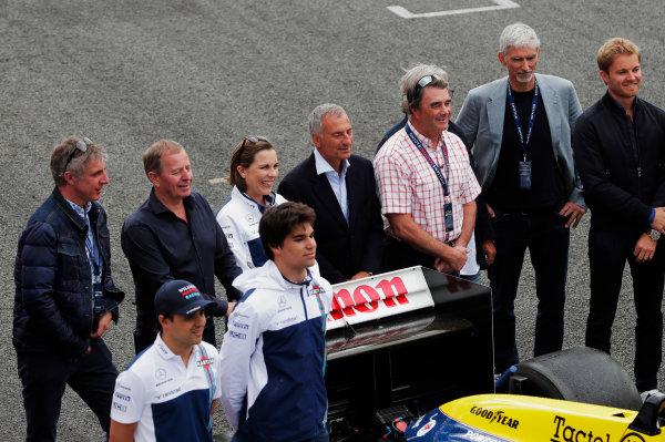 Williams 40 Event Silverstone, Northants, UK Friday 2 June 2017. Back row L-R: Jason Plato, Martin Brundle, Claire Williams, Riccardo Patrese, Nigel Mansell, Keke Rosberg, Damon Hill and Nico Rosberg. Front row, L-R Felipe Massa, Williams Martini Racing, and Lance Stroll, Williams Martini Racing.  World Copyright: Zak Mauger/LAT Images ref: Digital Image _54I1359