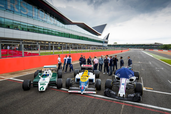 Williams 40 Event Silverstone, Northants, UK Friday 2 June 2017. Former drivers with a Williams FW08, FW11 and a Williams FW40 Mercedes. L-R Antonio Pizzonia, Felipe Massa, Williams Martini Racing, Paul di Resta, Jason Plato, Martin Brundle, Riccardo Patrese, Nigel Mansell and Keke Rosberg, Damon Hill, Lance Stroll, Williams Martini Racing, Nico Rosberg, David Coulthard, Alex Wurz, Karun Chandhok and Pastor Maldonado. World Copyright: Sam Bloxham/LAT Images ref: Digital Image _W6I6454