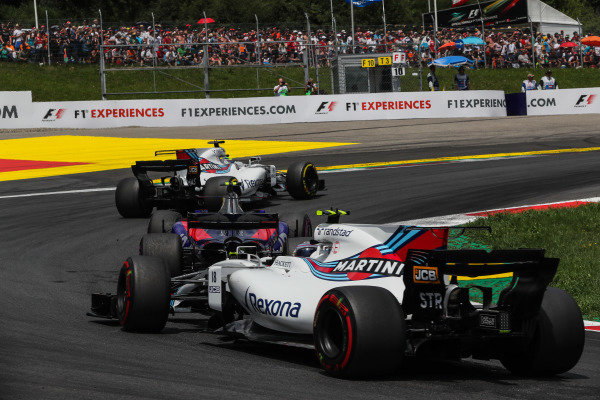 Felipe Massa (BRA) Williams FW40, Carlos Sainz jr (ESP) Scuderia Toro Rosso STR12 and Lance Stroll (CDN) Williams FW40 at Formula One World Championship, Rd9, Austrian Grand Prix, Race, Spielberg, Austria, Sunday 9 July 2017.