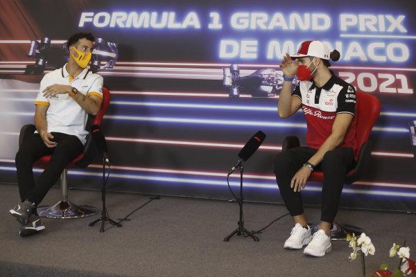 Daniel Ricciardo, McLaren, and Antonio Giovinazzi, Alfa Romeo Racing, in the Press Conference