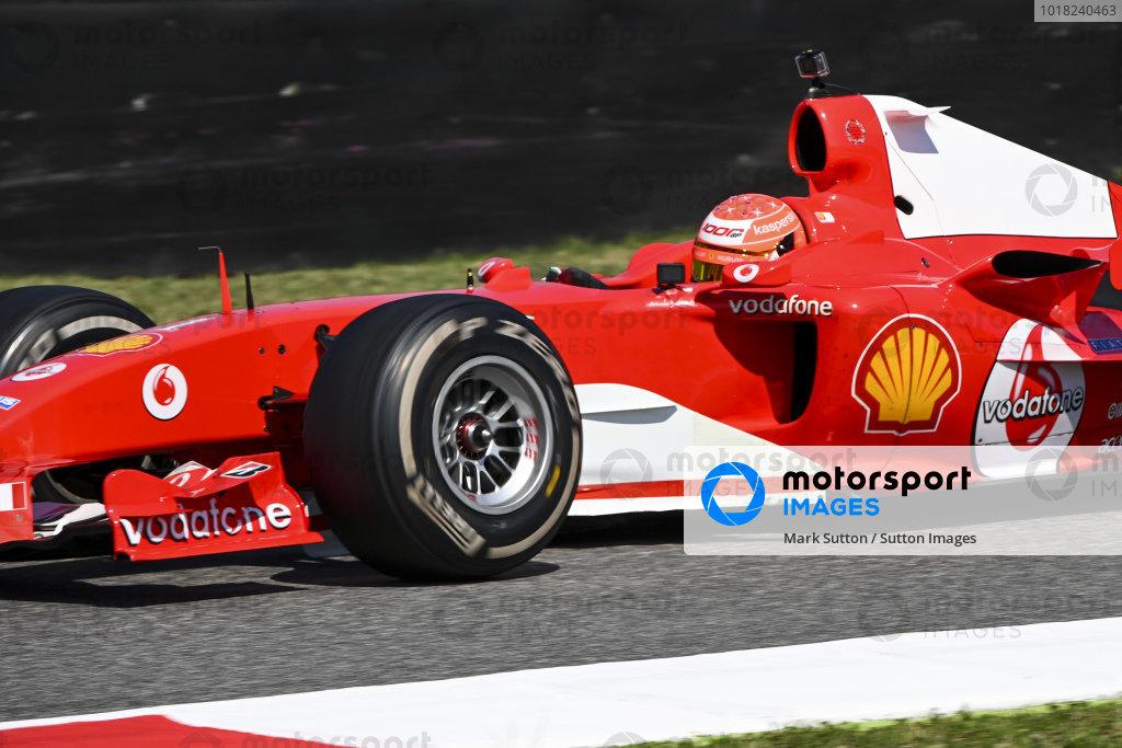 Mick Schumacher drives his father's championship winning Ferrari F2004 on a demo run celebrating ferrari's 1000th Grand Prix