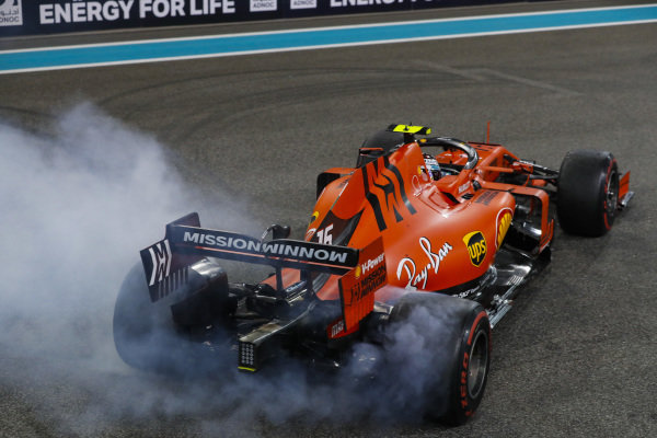 Charles Leclerc, Ferrari SF90, 3rd position, performs a donut on the grid in celebration, at the end of the race