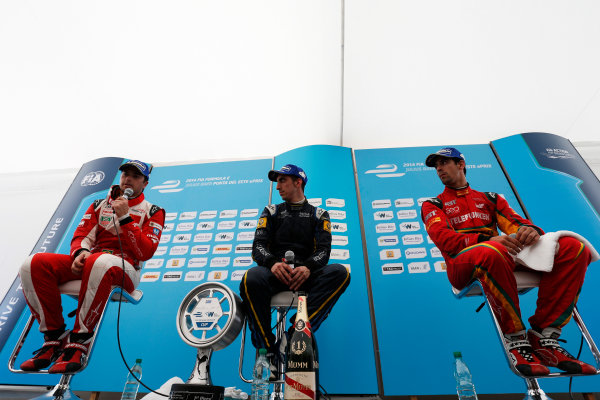 2014 FIA Formula E Championship. Punta del Este ePrix, Uruguay. Post-race press conference. Sebastien Buemi (SWI)/E.dams Renault - Spark-Renault SRT_01E (first position), Nelson Piquet Jr (BRA)/China Racing - Spark-Renault SRT_01E (second position) and Lucas di Grassi (BRA)/Audi Abt Sport - Spark-Renault SRT_01E (third position). Photo: Zak Mauger/LAT/FE ref: Digital Image _L0U2023