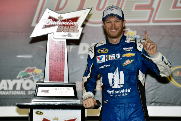 19 February, 2015, Daytona Beach, Florida USA Dale Earnhardt Jr celebrates his win in Victory Lane ? 2015, Nigel Kinrade LAT Photo USA