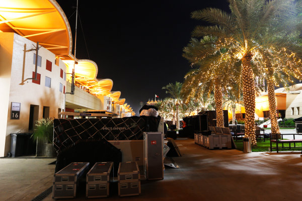 Bahrain International Circuit, Sakhir, Bahrain. Sunday 19 April 2015. The paddock is packed away after the race. World Copyright: Alastair Staley/LAT Photographic. ref: Digital Image _79P9251
