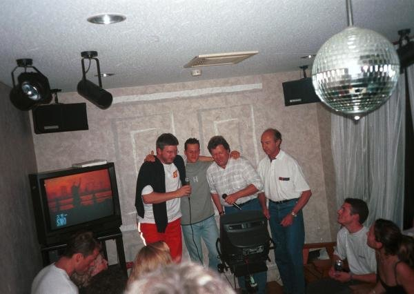 The Karaoke is about to start: (L to R): Ross Brawn (GBR), Michael Schumacher (GER), Norbert Haug (GER) and Jo Ramirez (MEX) Japanese GP, Suzuka, 8 October 2000