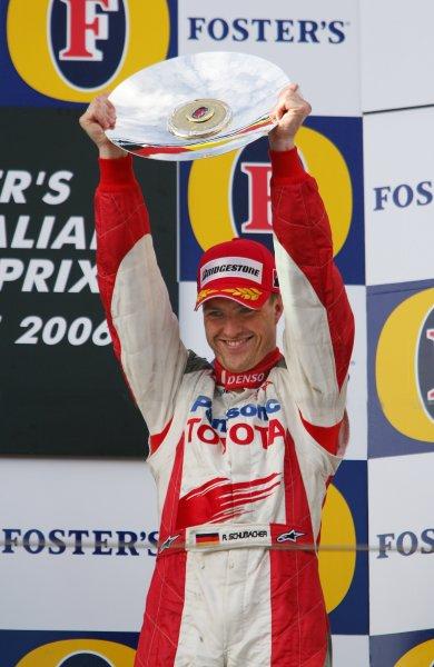 2006 Australian Grand Prix - Sunday Race, Albert Park, Melbourne. Australia. Ralf Schumacher, Toyota TF106, 3rd position, portrait, podium. 2nd April 2006  World Copyright: Steve Etherington/LAT Photographic ref: 48mb Hi Res Digital Image Only