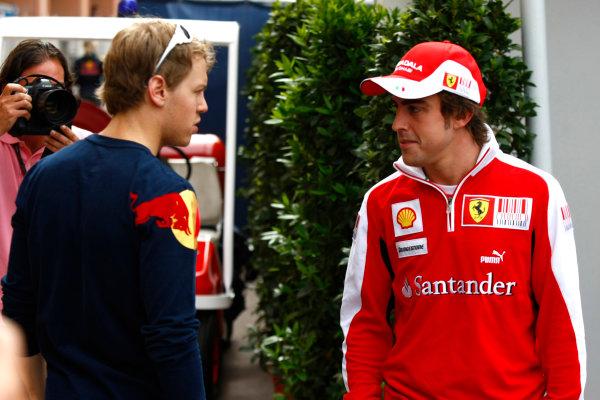 Monte Carlo, Monaco15th May 2010Sebastian Vettel, Red Bull Racing RB6 Renault, with Fernando Alonso, Ferrari F10. Portrait. World Copyright: Charles Coates/LAT Photographicref: Digital Image _26Y8953