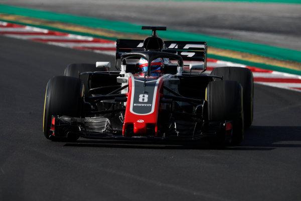 Circuit de Catalunya, Barcelona, Spain. Friday 09 March 2018. Romain Grosjean, Haas F1 Team VF-18 Ferrari. World Copyright: Glenn Dunbar/LAT Images ref: Digital Image _X4I1621
