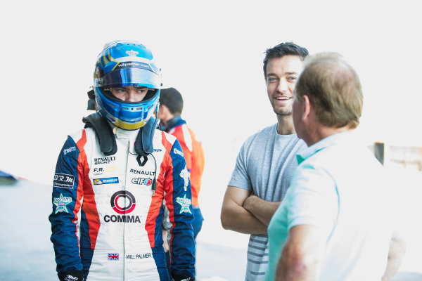 2017 GP3 Series Test 5. Yas Marina Circuit, Abu Dhabi, United Arab Emirates. Thursday 30 November 2017. Will Palmer (GBR, Arden International), with brother Jolyon Palmer and father Jonathan Palmer. Photo: Zak Mauger/GP3 Series Media Service. ref: Digital Image _O3I2591
