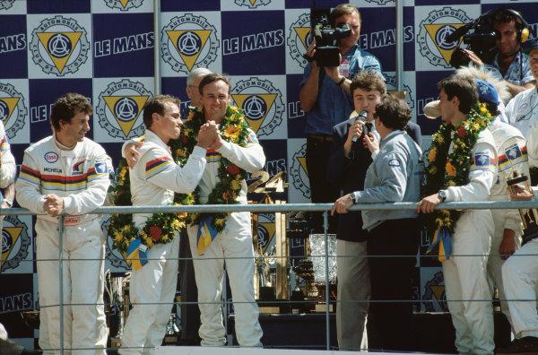 1993 Le Mans 24 hours. Le Mans, France. 19th - 20th June 1993. Christophe Bouchut / Geoff Brabham / Eric Helary (Peugeot 905C), 1st position, podium. portrait.   World Copyright: LAT Photographic.