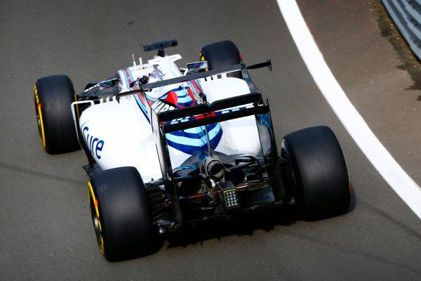 Silverstone, Northamptonshire, UK. Wednesday 13 July 2016. Valtteri Bottas, Williams FW38 Mercedes tests an unusual rear wing. World Copyright: Zak Mauger/LAT Photographic ref: Digital Image _L0U8540