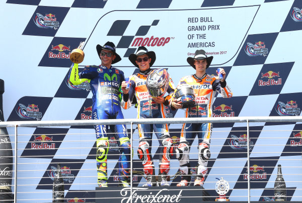 2017 MotoGP Championship - Round 3 Circuit of the Americas, Austin, Texas, USA Sunday 23 April 2017 Podium: race winner Marc Marquez, Repsol Honda Team, second place Valentino Rossi, Yamaha Factory Racing, third place Dani Pedrosa, Repsol Honda Team World Copyright: Gold and Goose Photography/LAT Images ref: Digital Image MotoGP-Post-500-2837