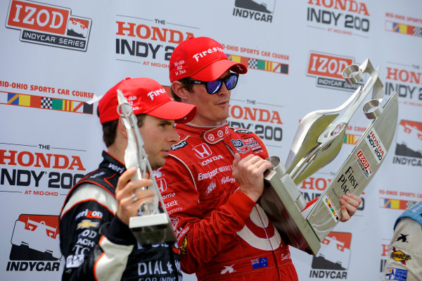 3-5 August, 2012, Lexington, Ohio USA(L to R): Will Power (2nd), and winner Scott Dixon in Victory Lane.(c)2012, F. Peirce WilliamsLAT Photo USA