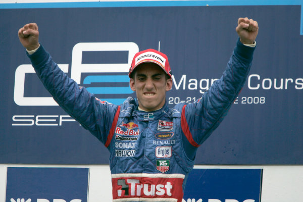 Magny-Cours, France. 22nd June.Sunday Race. Sebastien Buemi (SUI, Trust Team Arden) celebrates his victory on the podium. World Copyright: Alastair Staley/GP2 Series Media Service.ref: Digital Image _MG_3520