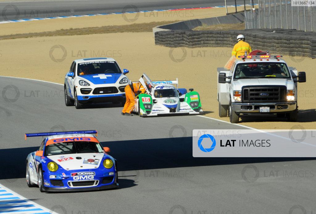 16-18 September, 2011, Monterey, California USA#16 Dyson Racing Team Mazda Lola B09/86 blown engine in raceday warmup.(c)2011,  Dan R. Boyd  LAT Photo USA