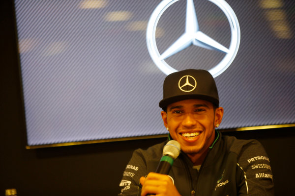 Spa-Francorchamps, Spa, Belgium. Saturday 23 August 2014. Lewis Hamilton, Mercedes AMG, at a Mercedes Press Conference. World Copyright: Charles Coates/LAT Photographic. ref: Digital Image _J5R1294