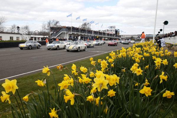 2015 73rd Members Meeting. Goodwood Estate, West Sussex, England. 21st - 22nd March 2015. Race 7 John Aldington Trophy. Start of the race, action. World Copyright: Gary Hawkins/LAT Photographic ref: Digital Image PORSCHE START_F2R0714