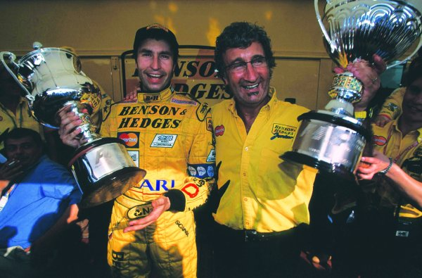 1999 Italian Grand Prix.Monza, Italy.10-12 September 1999.Heinz-Harald Frentzen (Jordan Mugen Honda) and team boss Eddie Jordan celebrate their victory.Ref-99 ITA 04.World Copyright - LAT Photographic