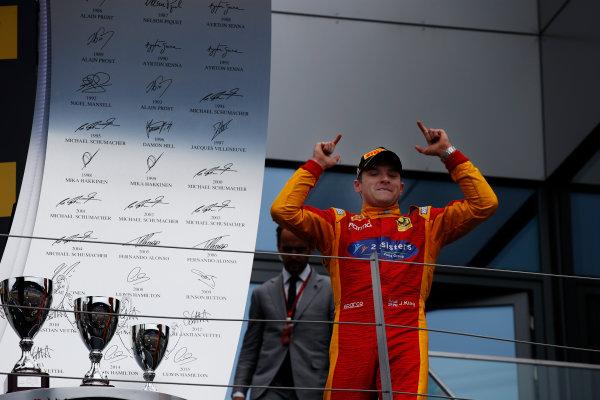 Jordan King (GBR, Racing Engineering celebrates on the podium. 2016 GP2 Series Round 4 Red Bull Ring, Spielberg, Austria. Sunday 3 July 2016.  Photo: Sam Bloxham/GP2 Series Media Service. ref: Digital Image _SLA9898